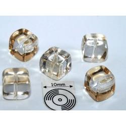 Margele sticla Cehia cub cca 8.20 x 7.60 mm culoare cristal/lt.topaz (4 buc).