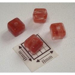 Margele sticla Cehia cub 5.50 x 5.50 x 6.20 mm culoare maro/cristal transparent (10 buc).