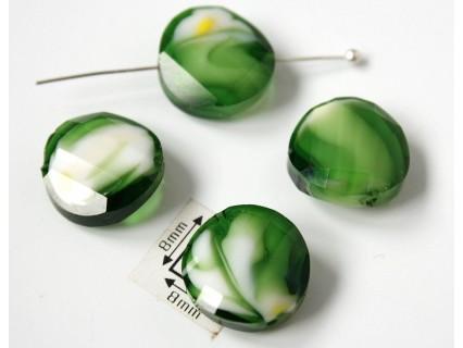 Disc rasucit sticla 14 x 6.40 mm culoare nuante de verde/alb/cristal clar (2 buc)