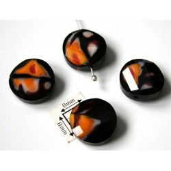 Disc rasucit sticla 14 x 6.40 mm culoare nuante de negru/alb/portocaliu/rosu (2 buc)