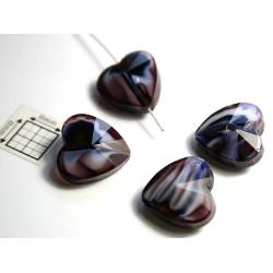 Inima sticla 14.40 x 14 x 8 mm culoare nuante de albastru/alb/maro/cristal clar (2 buc).