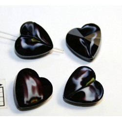 Inima sticla 14.40 x 14 x 8 mm culoare nuante de albastru/alb/maro/galben/cristal clar (2 buc).