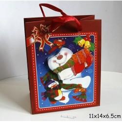 Punga de cadouri 3D, model 365 Om de zapada 11x14x 6.5 cm ( 1 bucata )