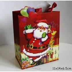 Punga de cadouri 3D, model 567 Mos Craciun 11x14x 6.5 cm ( 1 bucata )