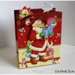 Punga de cadouri 3D, model 564 Mos Craciun 11x14x 6.5 cm ( 1 bucata )