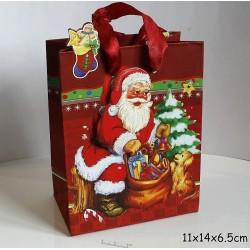 Punga de cadouri 3D, model 566 Mos Craciun 11x14x 6.5 cm ( 1 bucata )