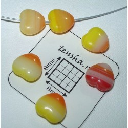 Margele sticla Cehia inima 9 x 8 x 4 mm culoare galben/roz/alb (10 buc).