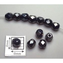 FP05-02 margele sticla Cehia firepolish 5 mm, culoarea hematit (10 buc)