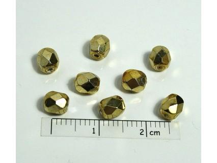 FP 5 - margele sticla Cehia firepolish 5 mm, culoarea auriu (10 buc).