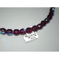 FP05-05 margele sticla Cehia firepolish 5 mm, dark amethyst AB (10 buc)