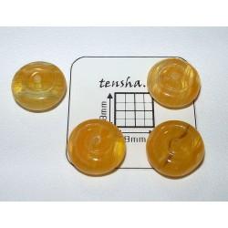 Margele sticla Cehia disc 10.5 x 5 mm culoare galben (4 buc).