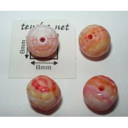 Margele sticla Cehia rotund fatetat 8.60 mm culoare rosu/roz/alb opac (4 buc).