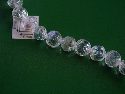 Margele sticla Cehia forma boboc de trandafir cca 7 mm culoare cristal AB (10 buc) .