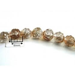 Margele sticla Cehia forma boboc de trandafir cca 7 mm culoare cristal clar/partial bronz (10 buc) .FL-25.