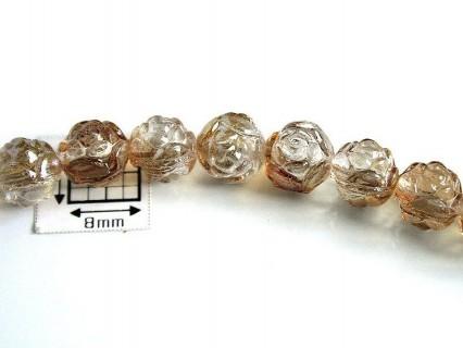 Margele sticla Cehia forma boboc de trandafir cca 7 mm culoare cristal clar/partial bronz (10 buc) .