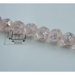 Margele sticla Cehia forma boboc de trandafir cca 7 mm culoare roz pal AB (10 buc) .FL-26.