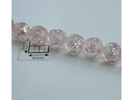 Margele sticla Cehia forma boboc de trandafir cca 7 mm culoare roz pal AB (10 buc) .