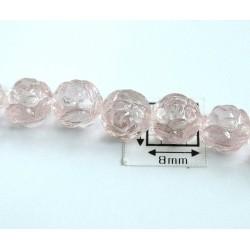Margele sticla Cehia forma boboc de trandafir cca 7 mm culoare roz pal transparent (10 buc) .FL-27.