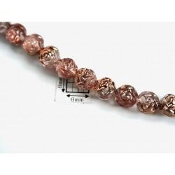 Margele sticla Cehia forma boboc de trandafir cca 7 mm culoare roz pal/partial cupru (10 buc) .FL-29.