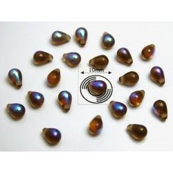 Margele sticla Cehia drops(tip magatama) 4 x 6 mm culoare dark topaz AB (10 buc) DR-07