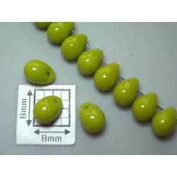 Margele sticla Cehia drops 5 x 7 mm culoare verde deschis opac lucios (10 buc).