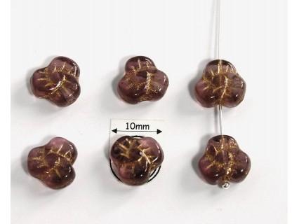 Margele sticla Cehia floare 9 x 5 mm culoare ametist cu model auriu (4 buc).
