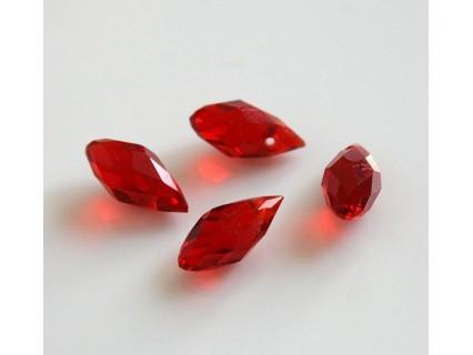 Briolete fatetate sticla cca 12 x 6 mm culoare rosu transparent (4 buc). BR-02