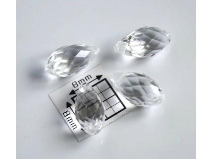 Briolete fatetate sticla cca 12 x 6 mm culoare cristal clar (4 buc). BR-03