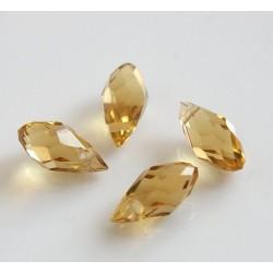 Briolete fatetate sticla cca 12 x 6 mm culoare galben citin transparent (4 buc). BR-06