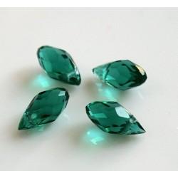 Briolete fatetate sticla cca 12 x 6 mm culoare verde smarald transparent (4 buc). BR-07