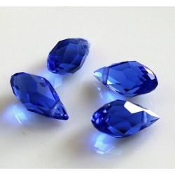 Briolete fatetate sticla cca 12 x 6 mm culoare albastru cobalt transparent (4 buc). BR-10