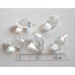 Briolete fatetate sticla cca 12 x 6 mm culoare cristal AB (4 buc). BR-11