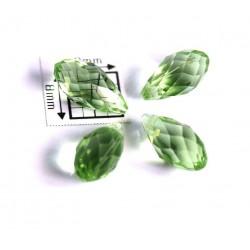 Briolete fatetate sticla cca 12 x 6 mm culoare verde peridot transparent (4 buc). BR-13