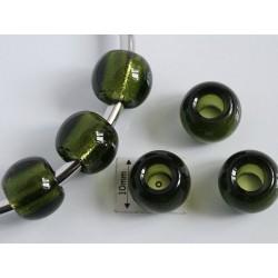 Margele sticla Cehia tip pandora 11.90 x 9 mm culoare dark olivine (2 buc) PAN-01