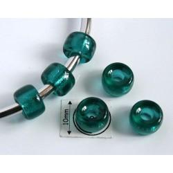 Margele sticla Cehia tip pandora 9 x 6 mm culoare emerald (2 buc). PAN-04