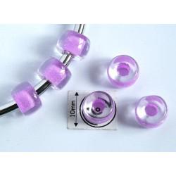 Margele sticla Cehia tip pandora 9 x 6 mm culoare crystal/pink (2 buc). PAN-05