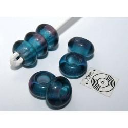 Margele sticla Cehia tip pandora 12.40 x 7 mm culoare albastru/mov (2 buc) .PAN-06