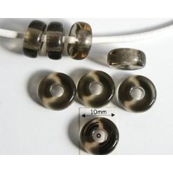 Inel sticla presata Cehia 11 x 4.50 mm culoare black diamond (4 buc). INE-02