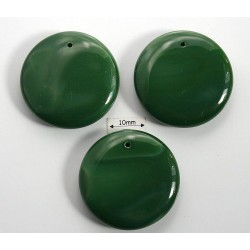 Pandantiv sticla Cehia disc cca 27.50 x 6.50 mm culoare verde (1 buc). MSD-06