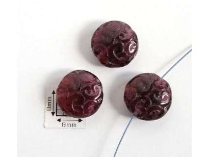 Margele sticla Cehia disc 14 x 7 mm cu model gravat pe ambele fete culoare granat (1 buc).MSD-07