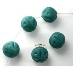 Margele sticla Cehia forma sfera cu model gravat 17 mm culoare verde mat (1 buc)..DIV-01