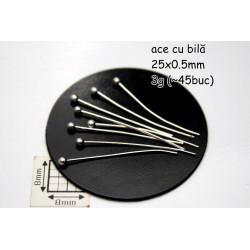 Ace cu bila ~25x0.5mm finisaj argintiu ( 3 grame ˜ 45 bucati )