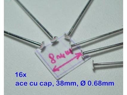 Ace cu cap 38x0.68 mm, alama placata cu argint, - groase, calitate extra (16x)