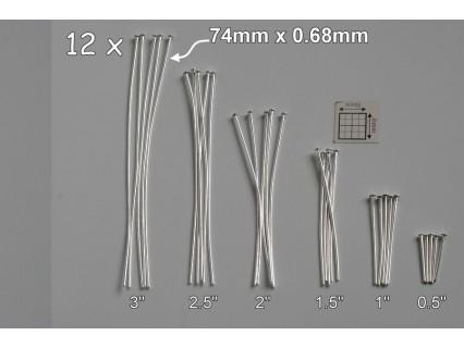 Ace cu cap 76mm Ø0.68mm SP, alama placata cu argint (12 bucati)