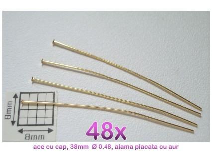 Ace cu cap, 38x0.48mm, alama placata cu aur (48x)