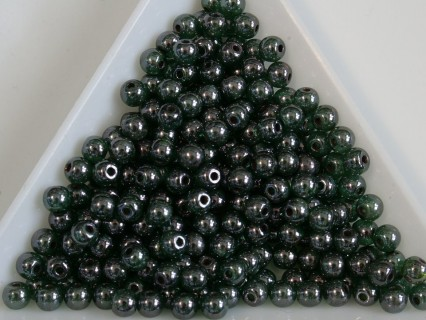 Margele sticla presata rotunde 4mm, l transparent green tourmaline luster (10g)