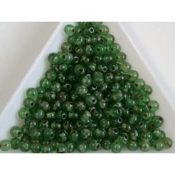 Margele sticla presata rotunde 4mm, transparent green tourmaline travertin luster (10g)