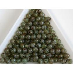 Margele sticla presata rotunde 4mm,aqua dark travertin luster (10g)