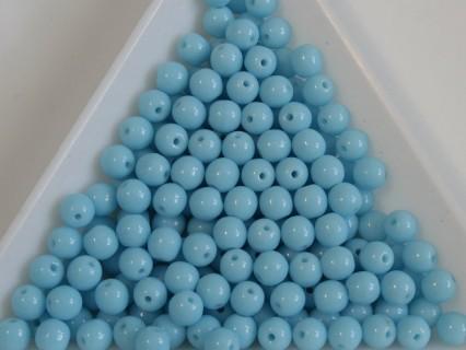 Margele sticla presata rotunde 4mm, opaque lt. blue (10g)