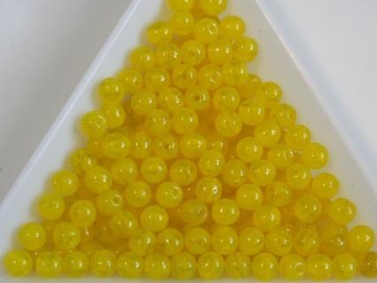 Margele sticla presata rotunde 4mm, milky yellow (10g)